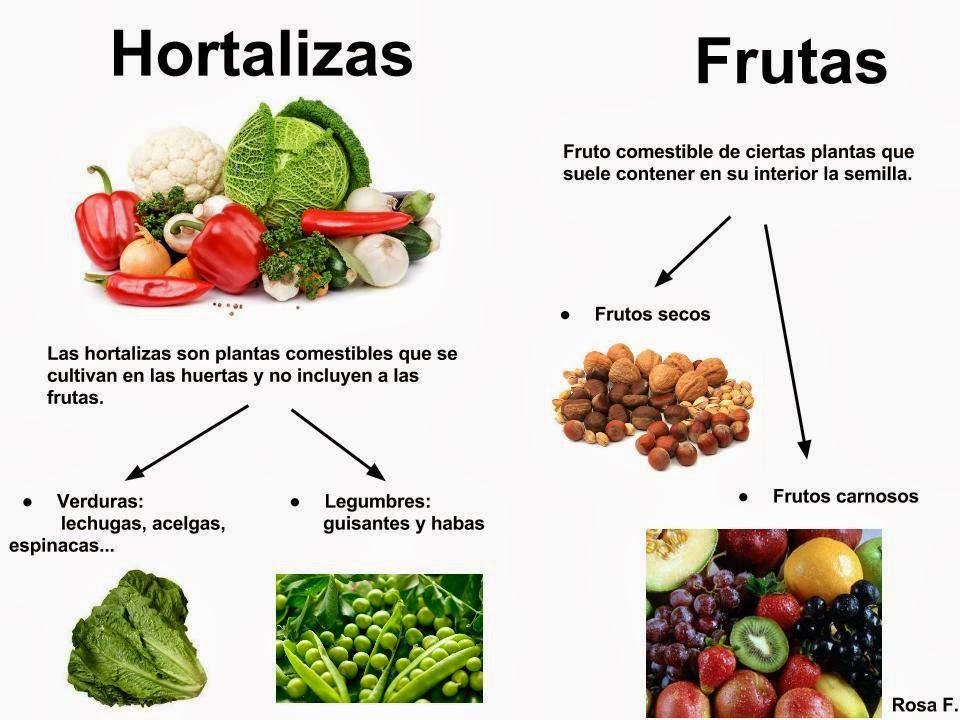 diferencias entre frutas y verduras